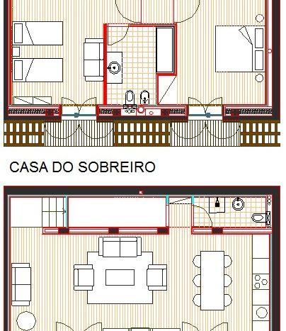 Casa do Sobreiro - Planta dos dois pisos