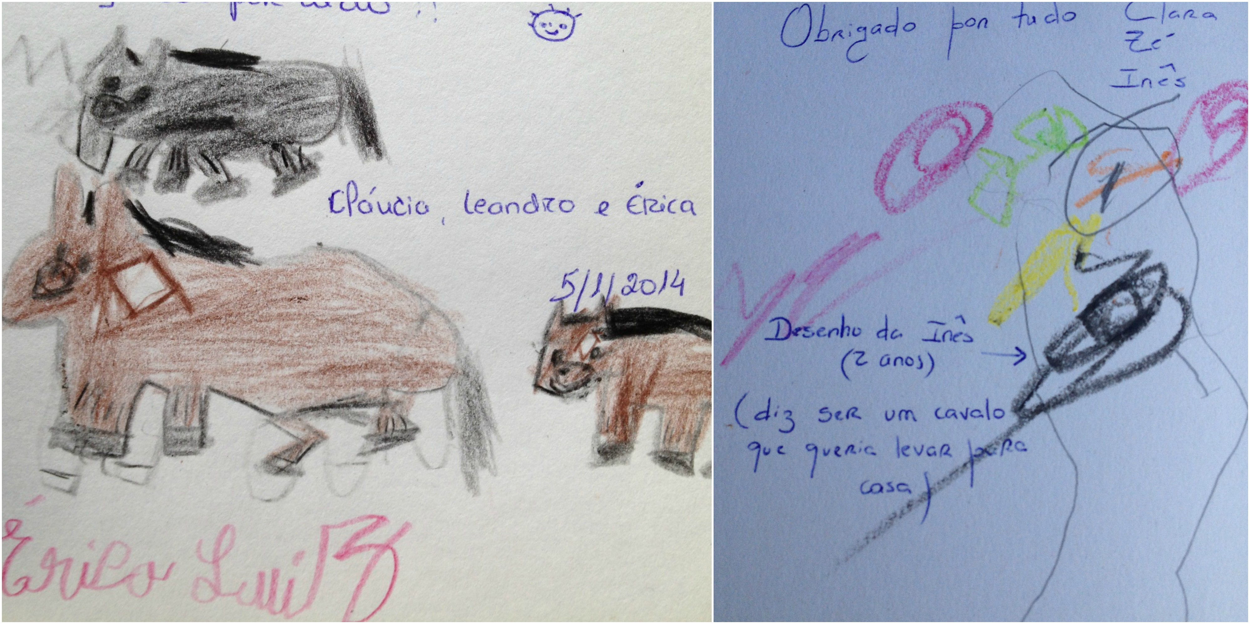 Left, Érica's drawing and, right, Inês' drawing